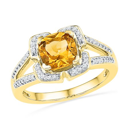 Size - 7 - Solid 10k Yellow Gold Simulated Citrine Cushion Round Yellow Simulated Citrine And White Diamond Engagement Ring OR Fashion Band Prong Set Solitaire Shaped Halo Ring (1/8 cttw)