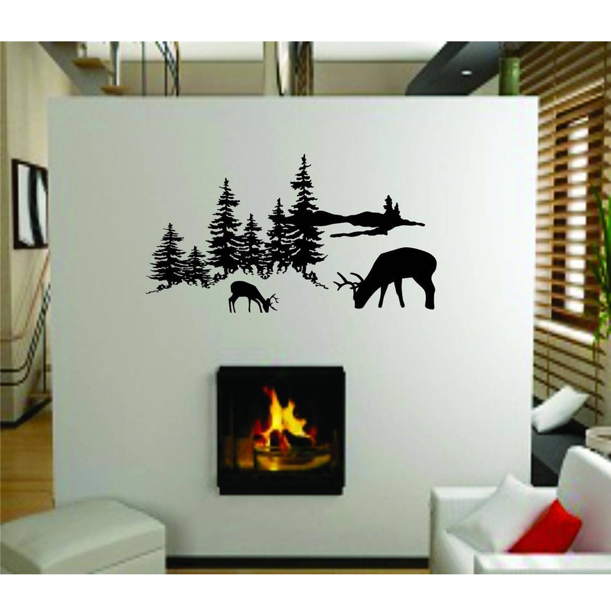 "Outdoor Hunting Scene Living Room Home Vinyl Wall Decal, 9"" x 20"", Black"