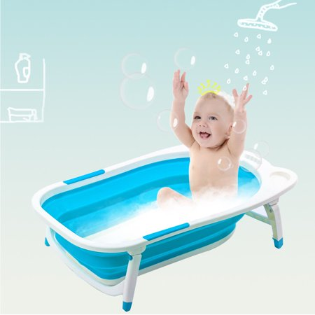 Gymax Blue Baby Folding Bathtub Infant Collapsible Portable Shower Basin w/ Block ()