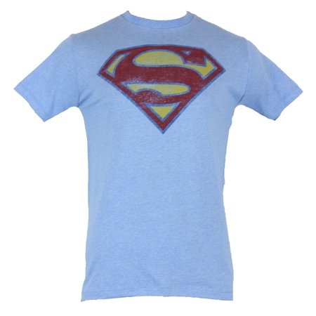 Superman (DC Comics) Mens T-Shirt - Classic Distressed Superman Logo Image ()