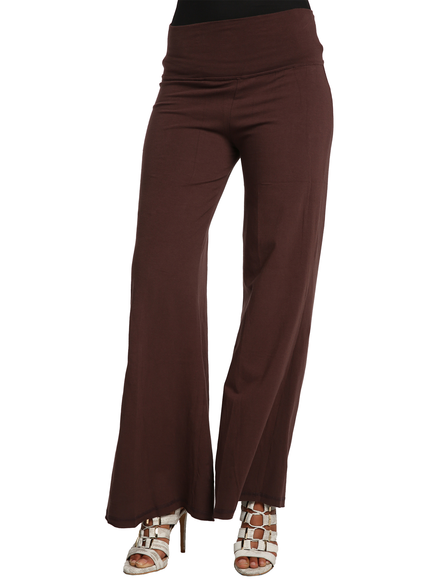 Sweet Vibes Juniors Dark Brown Stretch Jersey Gaucho Pants With Raw Hem