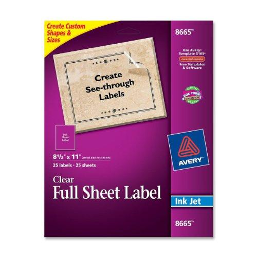 "Avery Easy Peel Mailing Labels - 8.50"" Width X 11"" Length - 25 / Pack - Rectangle - 1/sheet - Inkjet - Clear (AVE8665)"