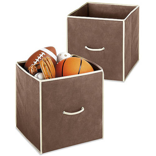 "Whitmor Set of 2 Collapsible 14"" Storage Totes, Java"