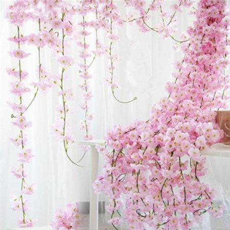 2M Artificial Cherry Blossom Garland Hanging Vine Silk Garland Wedding Party Decor