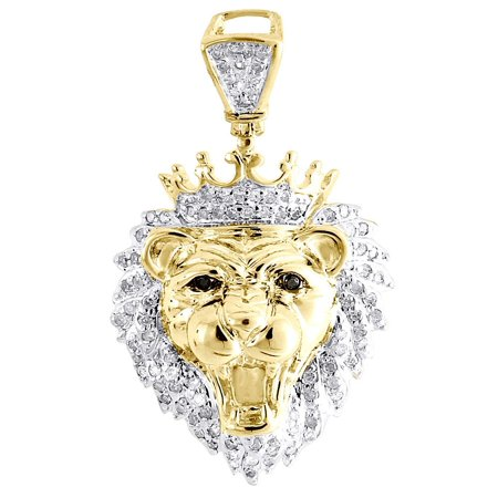 Diamond Mini King Crown Lion Head Pendant .925 Sterling Silver Charm 0.36 Tcw