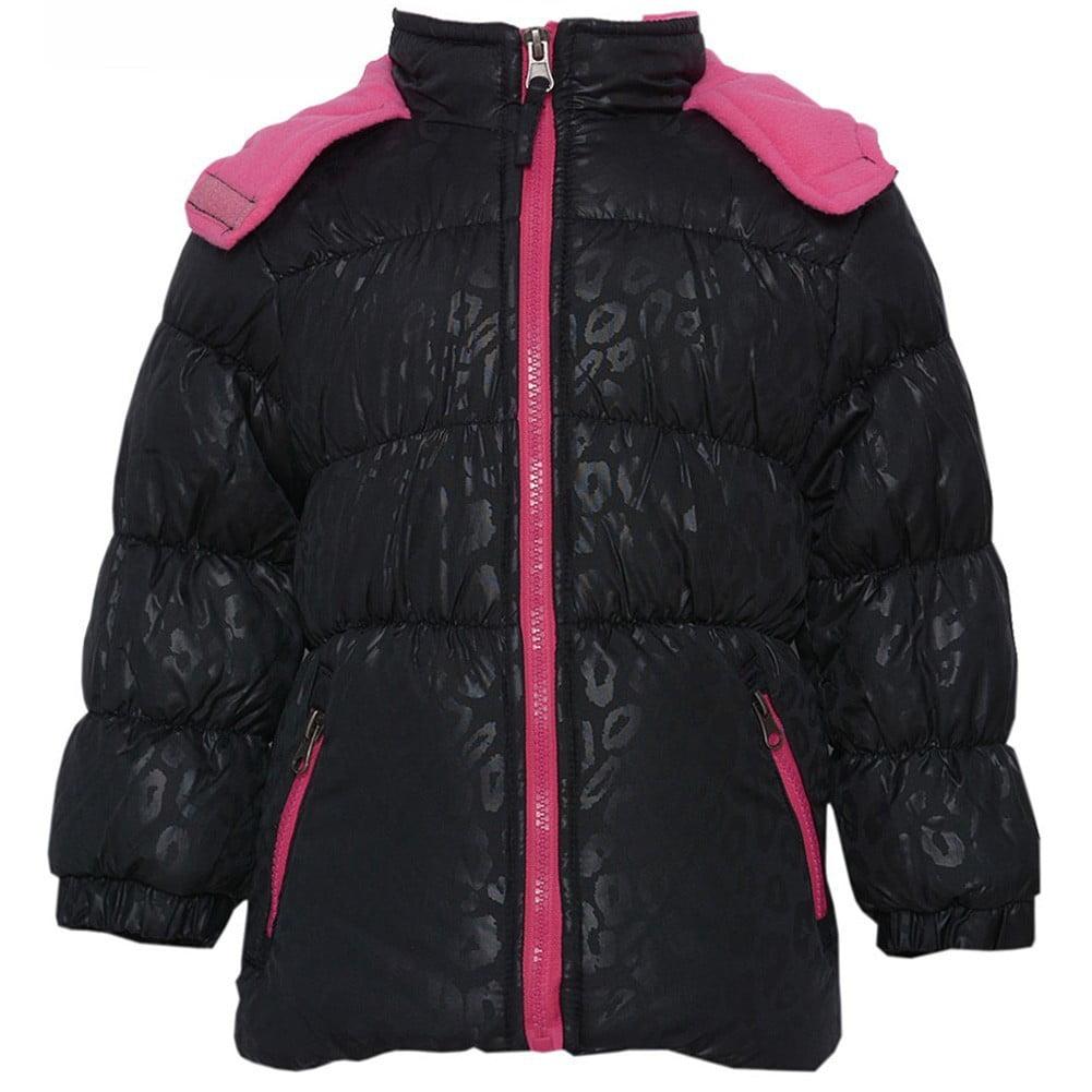 Pink Platinum Little Girls Black Fuchsia Zipper Hooded Winter Puffer Coat 2T