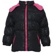 Little Girls Black Fuchsia Zipper Hooded Winter Puffer Coat 2T