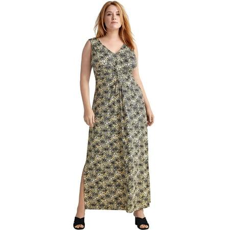 - Ellos Plus Size Knot-front Maxi Dress
