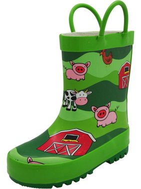 Norty New Toddlers / Little / Big Kids Boys Girls Waterproof Rubber Rain Boots, 40739 Lime Farm Animals / 10MUSToddler