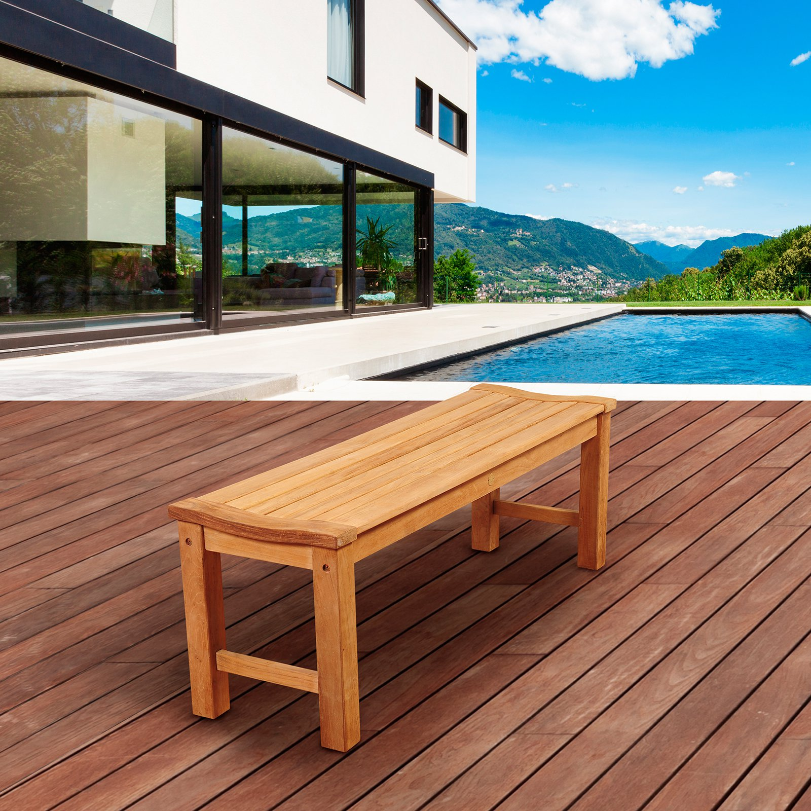 Amazonia Marth 51 in. Teak Backless Patio Bench by International Home Miami Corp