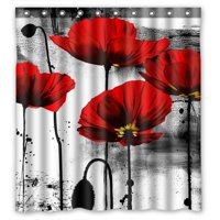 Product Image GCKG Vintage Red Poppy Flower Bathroom Shower Curtain Rings Included 100 Polyester Waterproof
