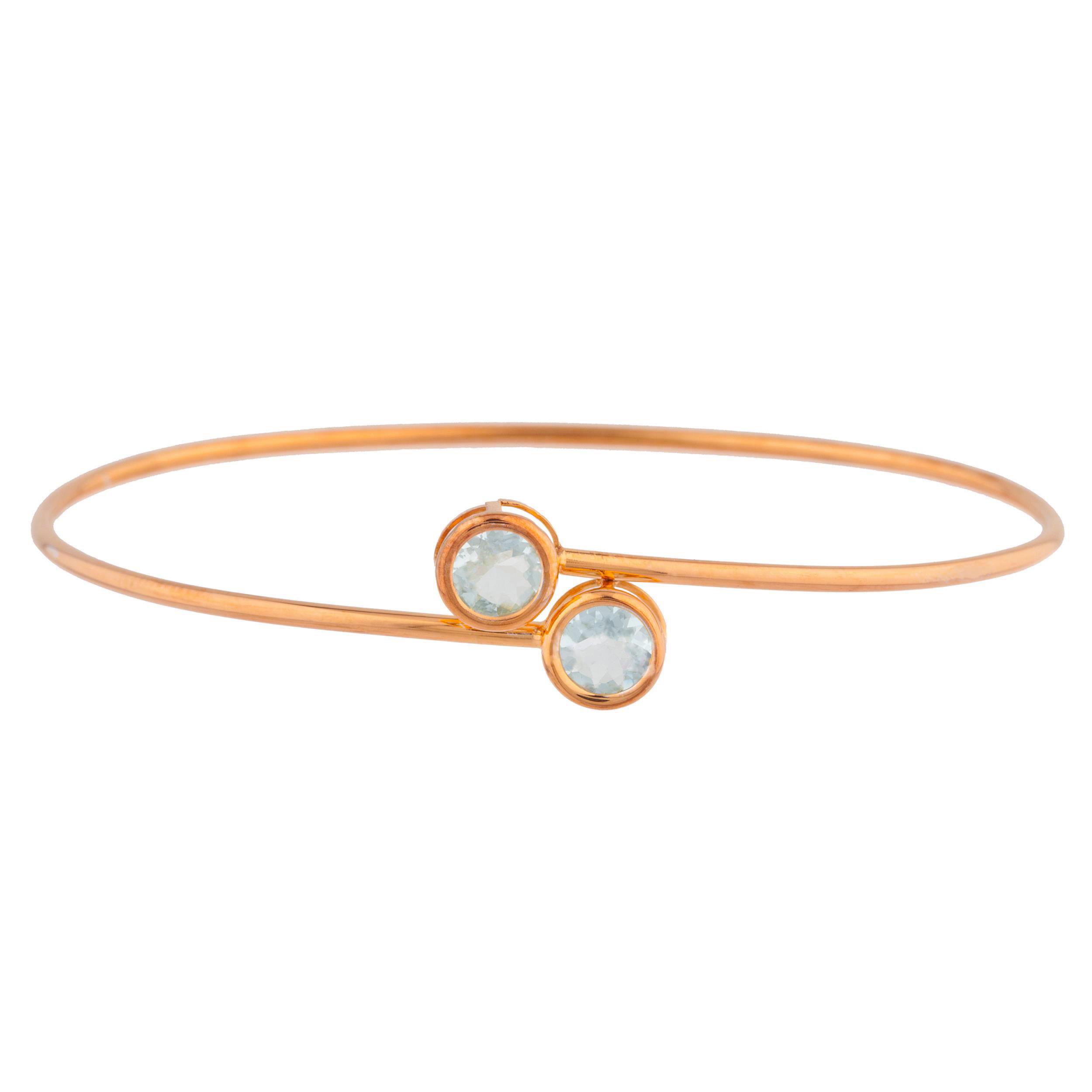 14Kt Rose Gold Plated Genuine Aquamarine Round Bezel Bangle Bracelet by Elizabeth Jewelry Inc