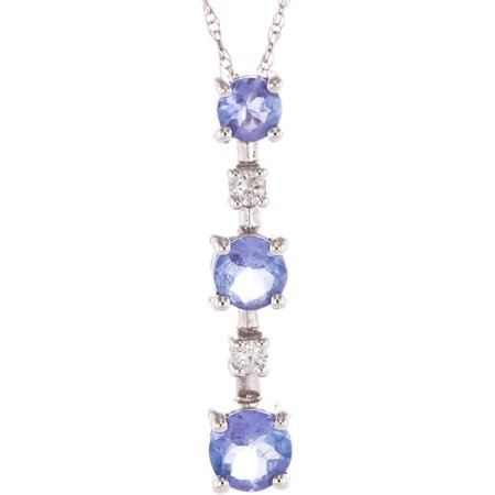 .788 Carat T.G.W. Tanzanite and Diamond Accent 14kt White Gold 3-Stone Pendant, 18