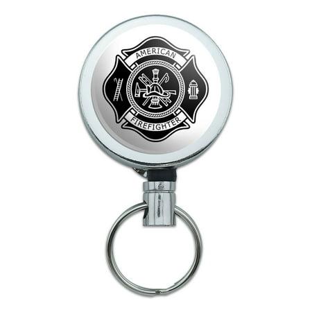 Firefighter Firemen Maltese Cross American Black Retractable Belt Clip Badge Key Holder
