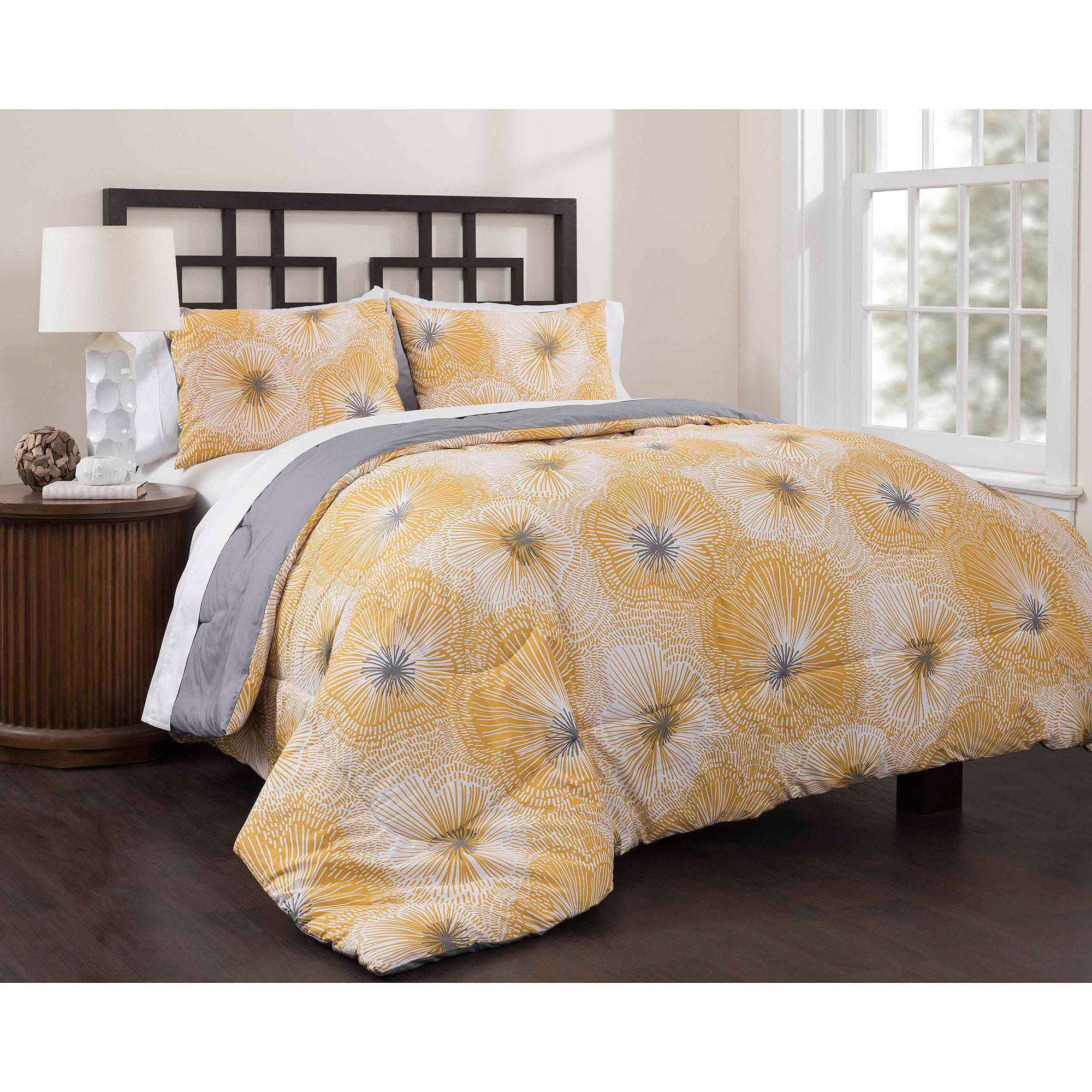 East End Living Lily Impressions 3-Piece Bedding Duvet Set, Yellow