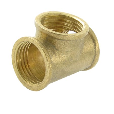 """Unique Bargains 49/64"""" x 49/64"""" x 49/64"""" Female Threads 3 Way T Type Tee Coupling Pipe Adapter"""