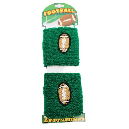 Green Colored Football Stretchable Wristband Set (2 pc)](Wristband Light)