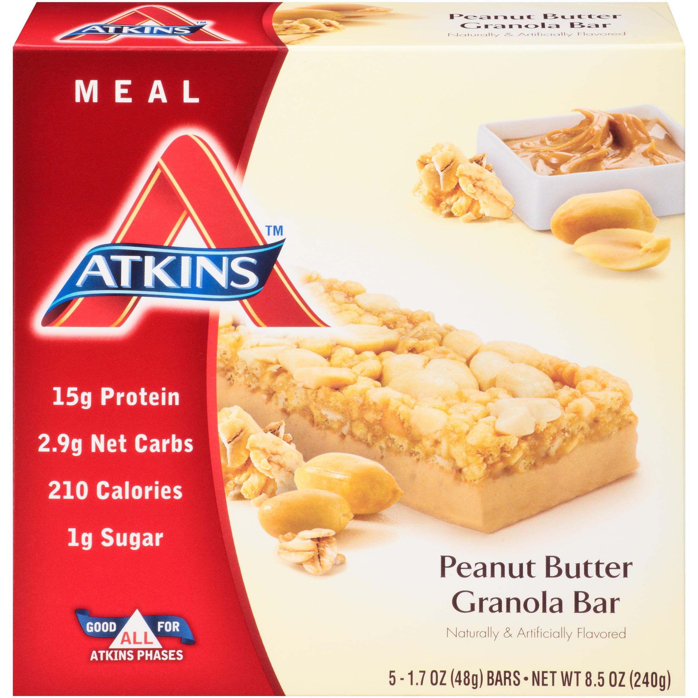 Atkins Advantage Peanut Butter Granola Bar, 1.7 Oz Bars, 5 Ct