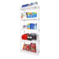 "Plano 30.25""W x 14.25""D x 74.5""H 5-Shelf Heavy-Duty Plastic Storage Unit, White"