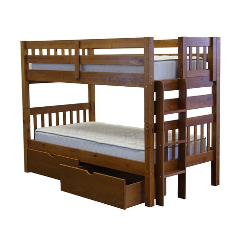 Bedz King Bunk Beds Twin over Twin Mission Style with End Ladder and 2 Under Bed Drawers, Espresso