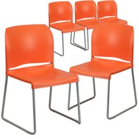 Flash Furniture 5-Pack HERCULES Series 880 lb Capacity Full Back Contoured Stack Chair with Sled Base, Multiple Colors