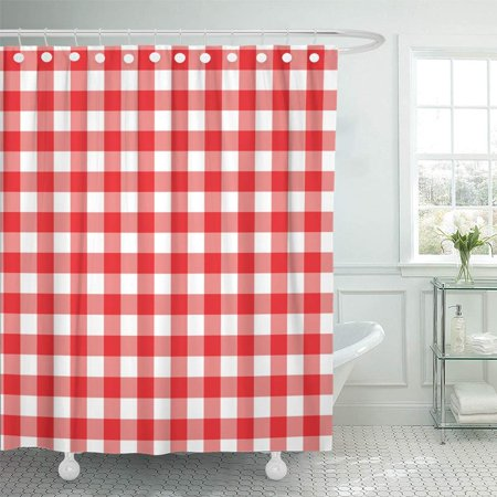 PKNMT Checks Red and White Gingham Checkered Shower Curtain Bath Curtain 66x72 inch (Gingham Shower Curtains)