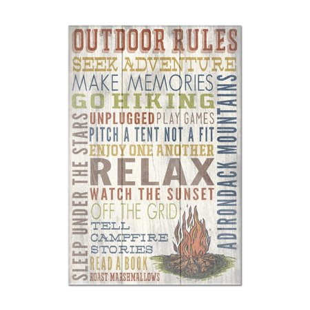 Adirondack Mountains, New York - Outdoor Rules - Rustic Typography - Lantern Press Artwork (8x12 Acrylic Wall Art Gallery Quality)
