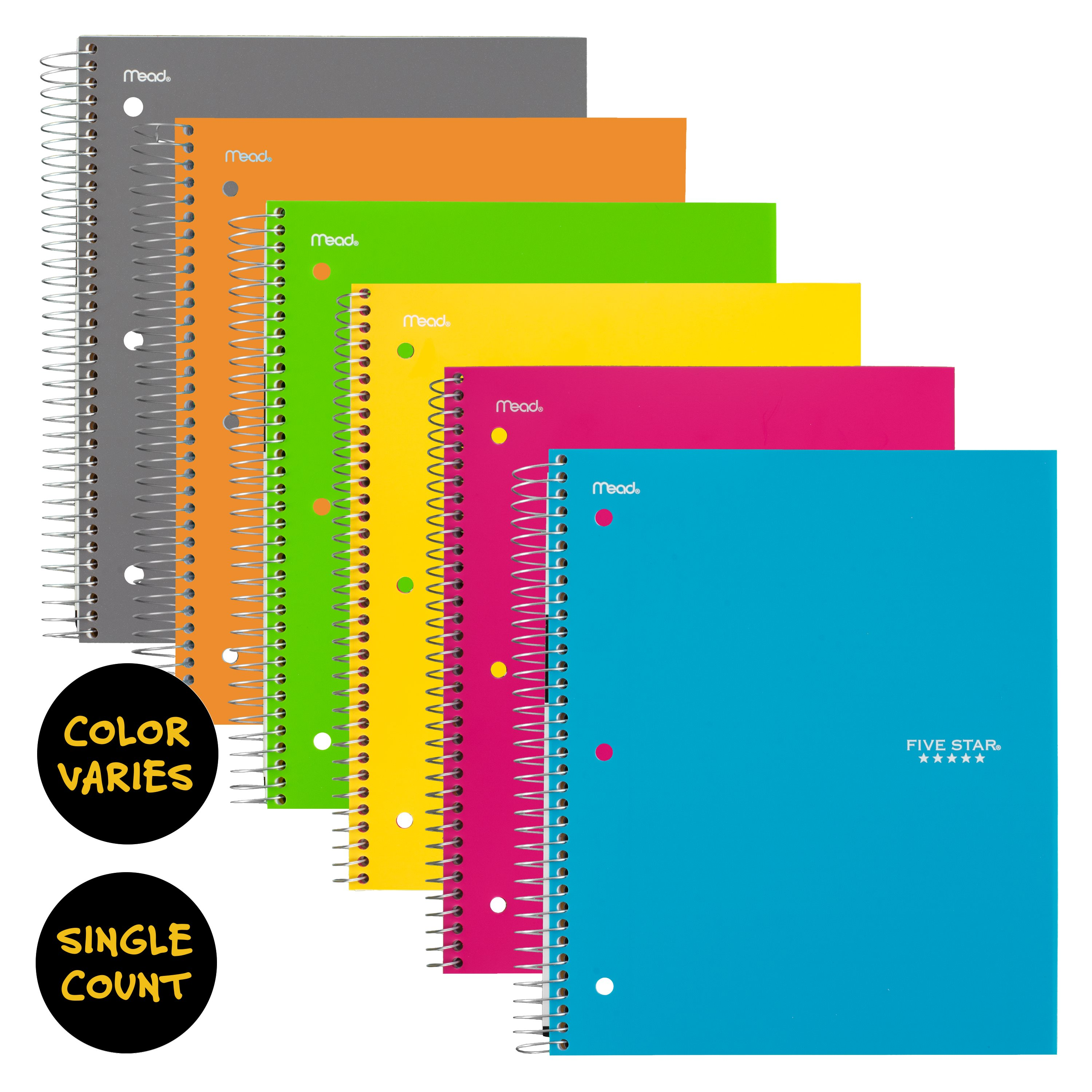 Five Star Trend Wirebound Notebook, 5 Subject, College Ruled, Assorted Colors (06112)