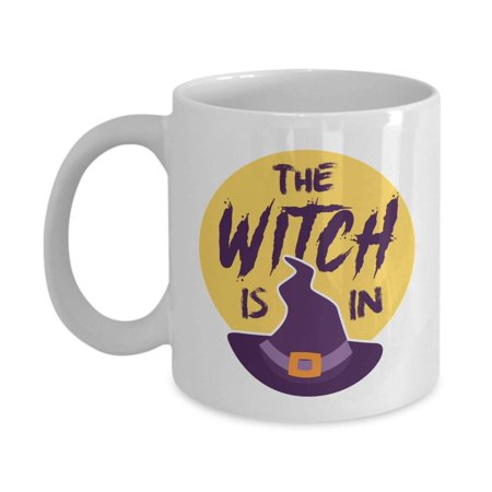 The Witch Is In Ceramic Coffee & Tea Gift Mug For Halloween Accessories, Supplies And Token For Witch Teen Girl & Women (Halloween Coffee Can Crafts)