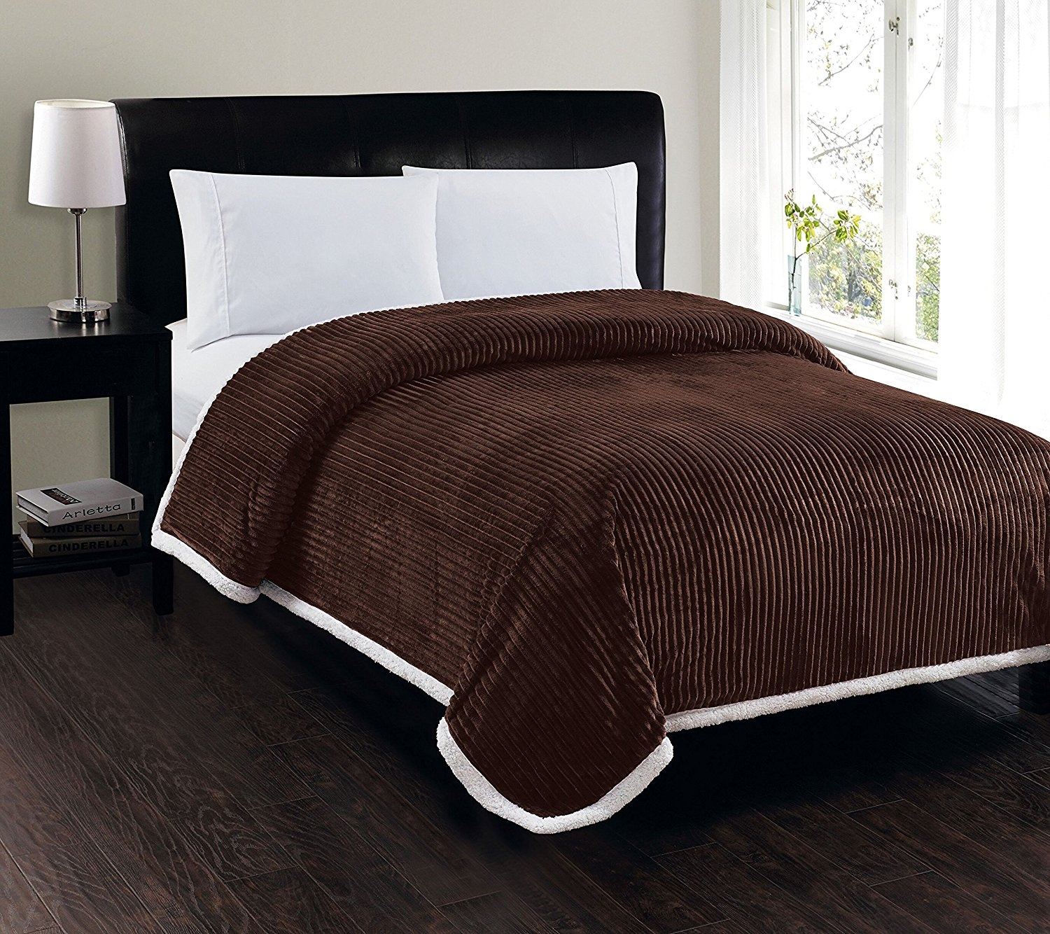 Soft Plush Reversible Corduroy   Sherpa Lined Oversized Bed Blanket for Bedroom or... by Plazatex