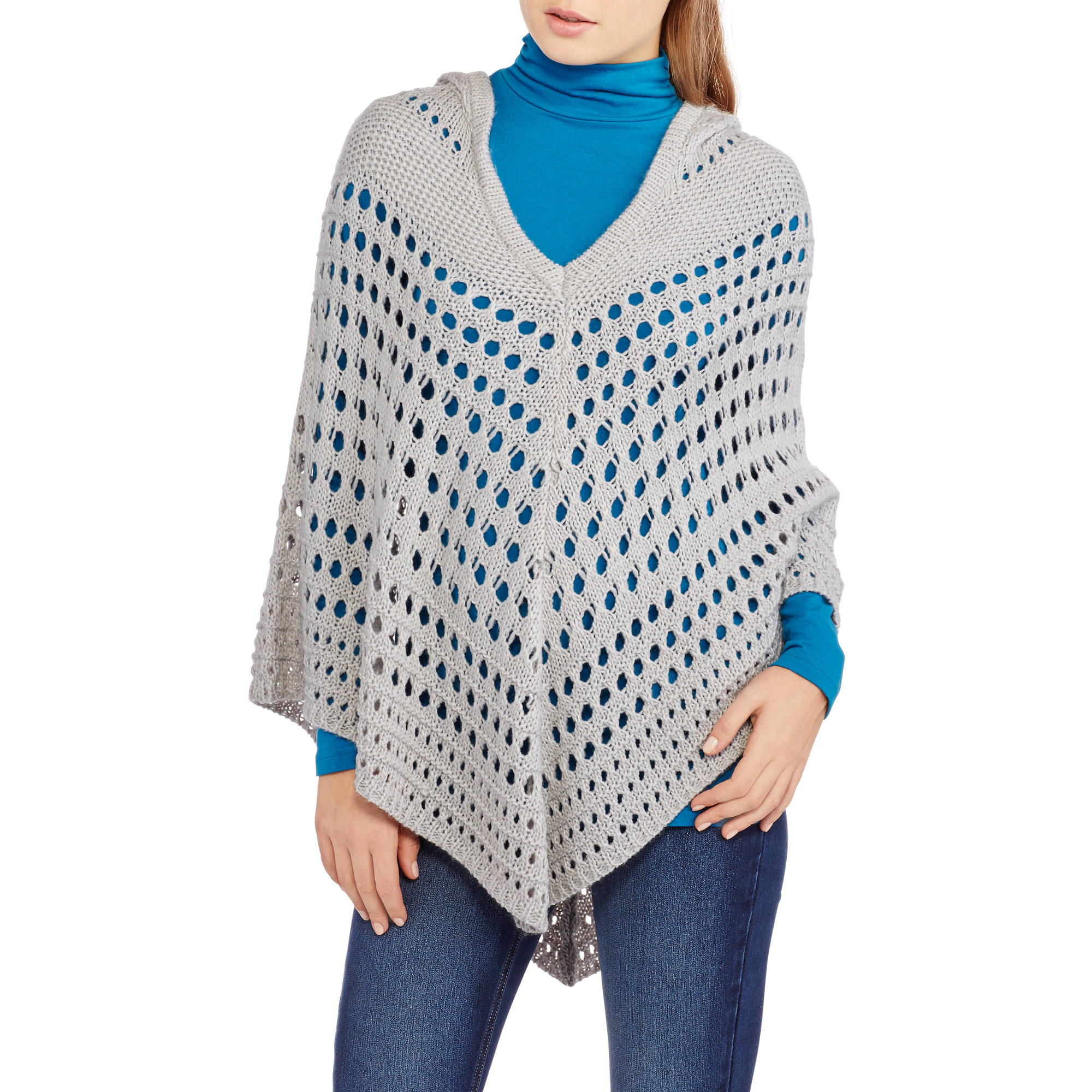 Almost Famous Juniors' Open Stitch Poncho Hoodie