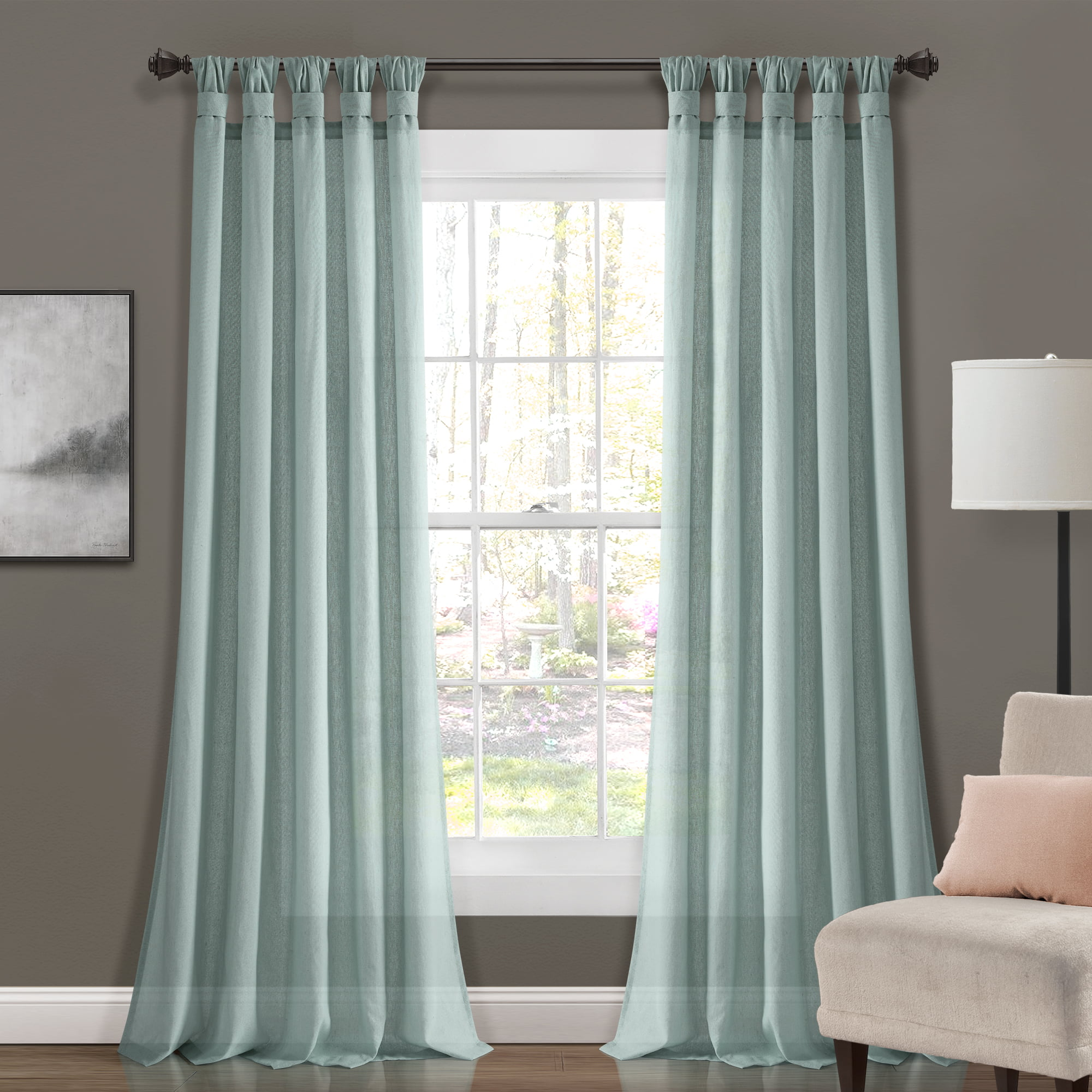 """Lush Decor Burlap Knotted Tab Top Knotted Tab Top 84"""" x 45"""" Solid Blue Cotton Blend Knotted Tab Top Pair Window Panel"""