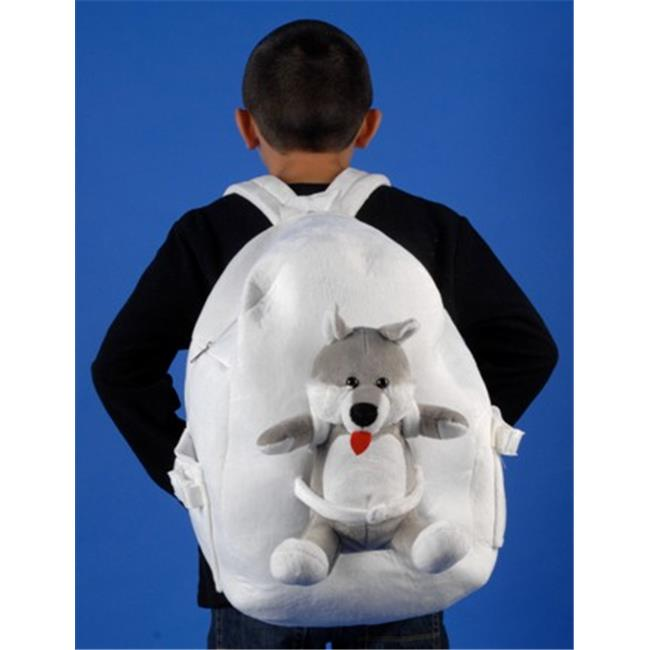 Tag Along Teddy 10008 Standard Size Diggity Dog Backpack,  White and Gray