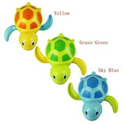 Set of 3 Baby Bathtub Wind up Turtle Toys Fun Multi Colors Swimming Bath tub, Beach, Pool Playset for Boys and Girls