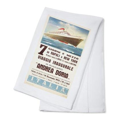 Kota Doria Cotton Saree - Switzerland - Andrea Doria - (artist: Patrone, Giovanni c. 1953) - Vintage Advertisement (100% Cotton Kitchen Towel)