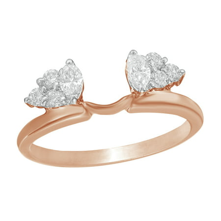 Marquise Cut White Natural Diamond Solitaire Enhancer Guard Ring 14k Rose Gold (3/8 Cttw)