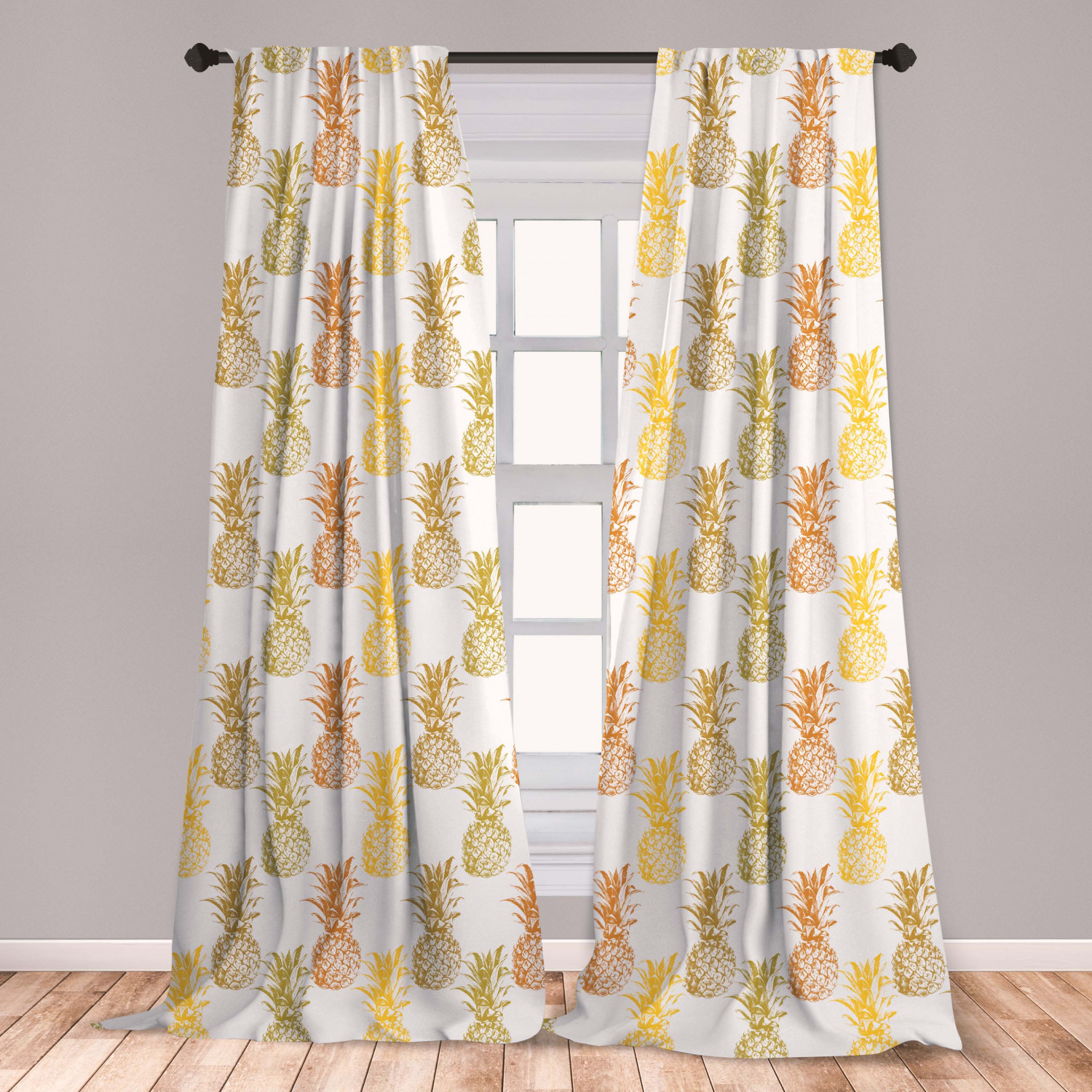 Pineapple Curtains 2 Panels Set, Hand Drawn Simply