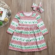 New Lovely Baby Girls Xmas Christmas Dress Toddler Kid Casual Dresses Clothes