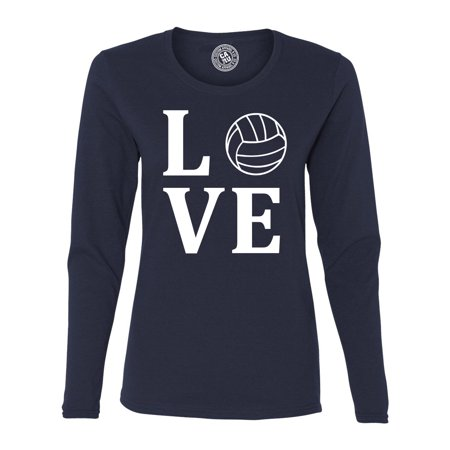 Love Volleyball Sports Jersey Womens Long Sleeve T Shirt ()