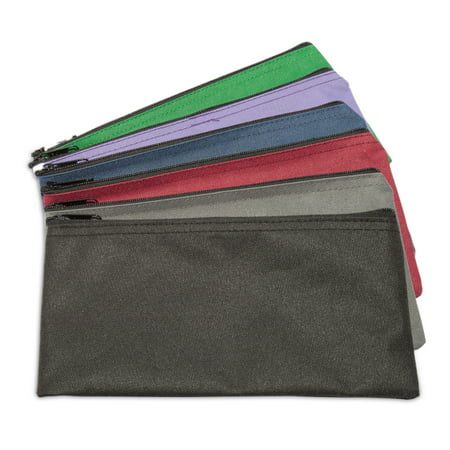 DALIX Zippered Money Pouch Bank Bag Security Deposit Bags Assorted Colors 6 PACK](Money Pouches)
