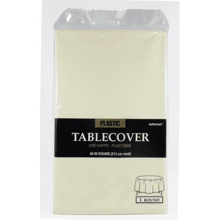 Amscan Plastic Table Cover Round Vanilla Cream