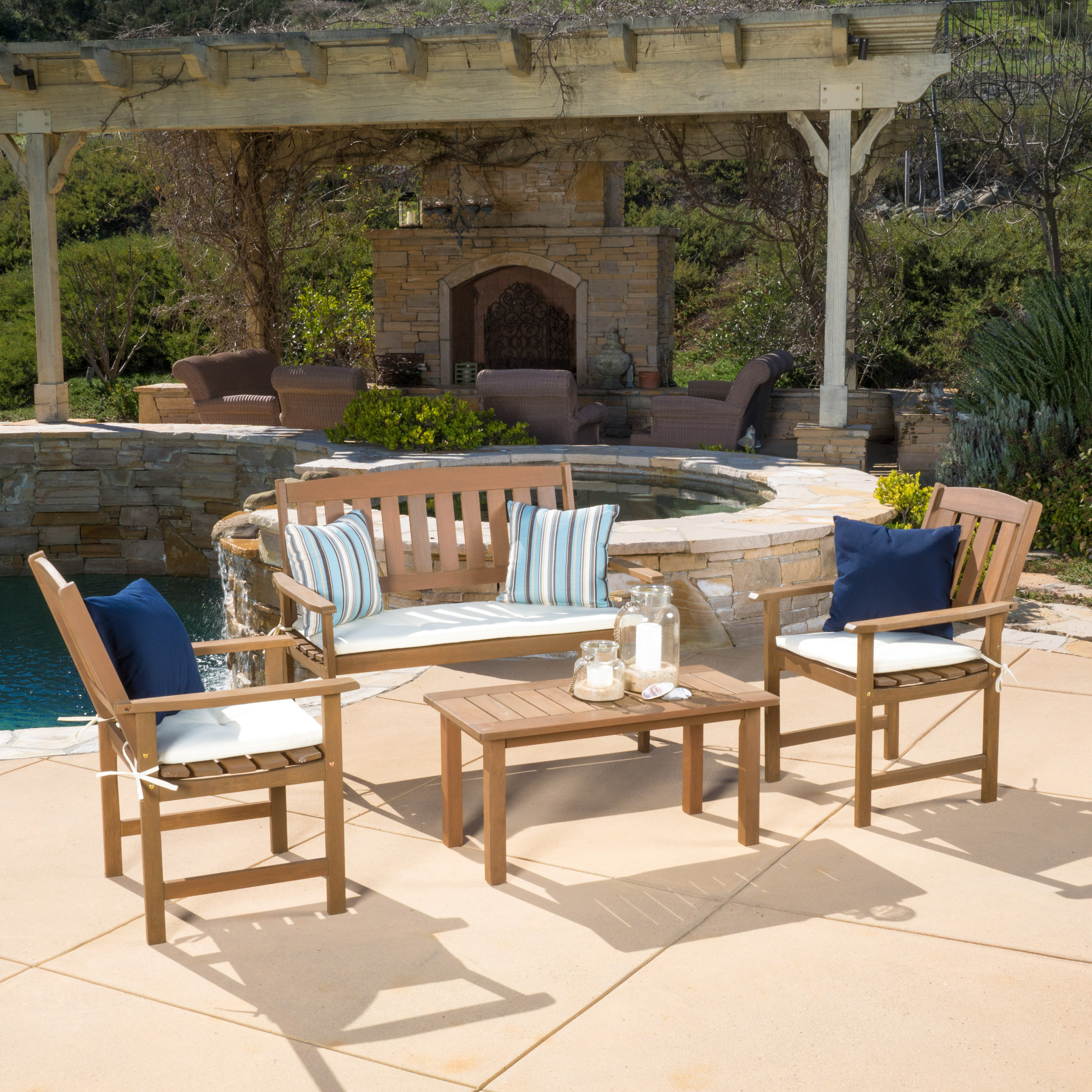 Emilia Outdoor Meranti 4 piece Wood Chat Set with Cushions, Honey Oak, Cream