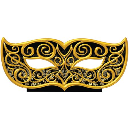 Black and Gold Masquerade Mask Standee