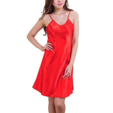 Sexy Women Comfortable Sling V-Neck Dress Solid Satin Silk -