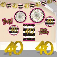 Over the Hill 'Hot Pink and Gold' 40th Birthday Room Decorating Kit (10pc)