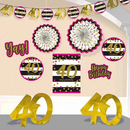 Over the Hill 'Hot Pink and Gold' 40th Birthday Room Decorating Kit (10pc) - Hill Birthday Kit