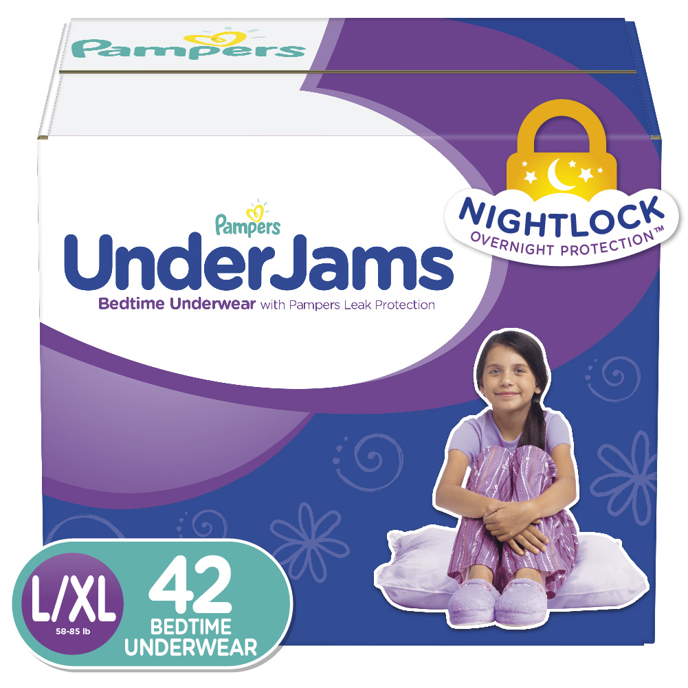 Pampers UnderJams Girls Bedtime Underwear, Size L/XL, 42 Count