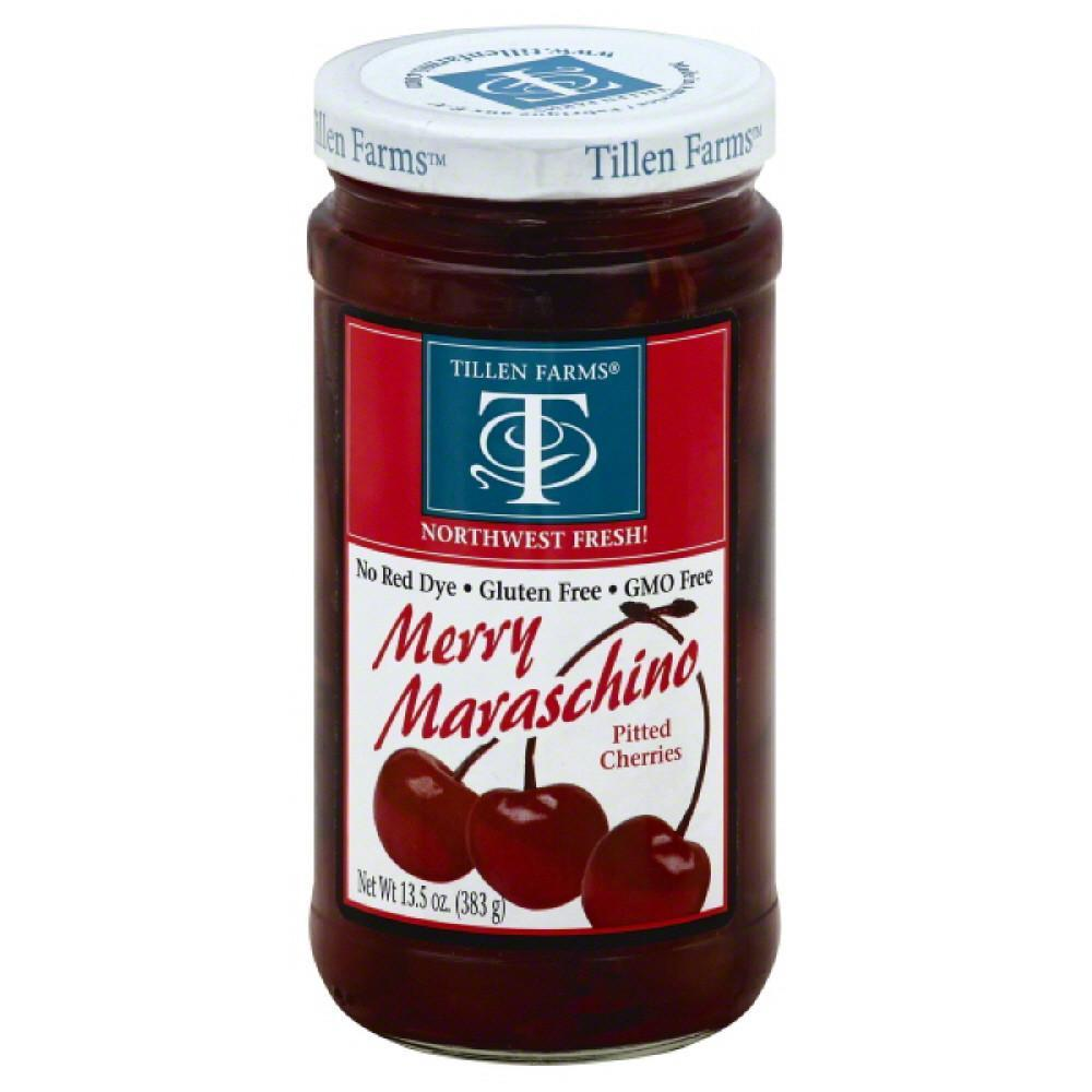 Tillen farms merry maraschino cherries with stems, 14 oz (pack of 6)
