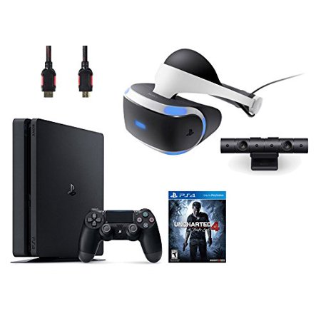PlayStation VR Bundle 4 Items:VR Headset,Playstation Camera,PlayStation 4 Slim 500GB Console - Uncharted 4