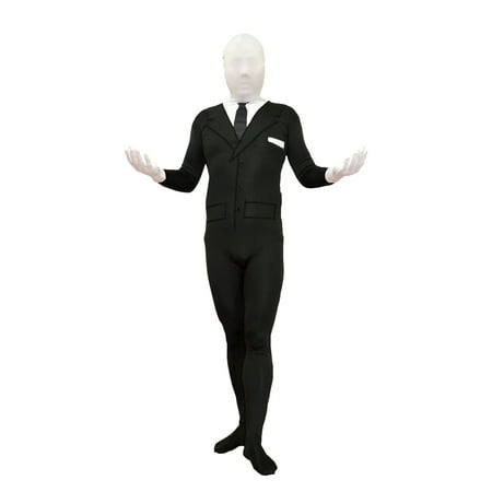 Slenderman Youth Costume Spandex Body Black Suit Tie Boys Kids Slender Man Meme